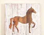Rustic Horse Painting on Reclaimed Wood