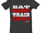 Eat Sleep Train Repeat - Circus Athlete Workout Tee Shirt or Hoodie