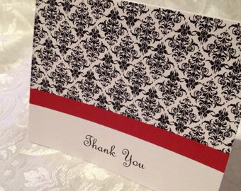 Red, Black & White Damask Thank You