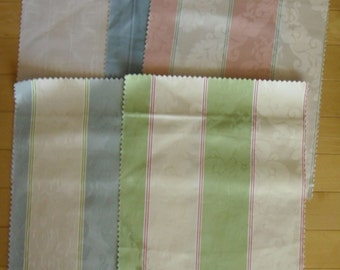 Designer Discontinued Fabric Samples - 5 Various Embossed Stripe Colors - 100% Cotton