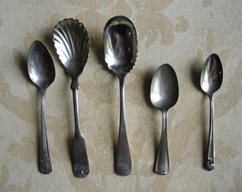 Vintage Silverware - 5 Spoons for Repurposing - Rogers Bros