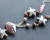 SALE Seaside Statement Silver Plated Necklace with Pink Glass Pearls and Seashells, Nautical Necklace, Gift for Her