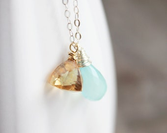 iced lemonade. necklace.  (aqua blue chalcedony. mystic quartz gold trillion. gemstone. sterling silver. jewelry. made to order)