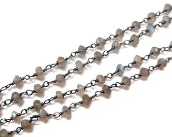 1 meter long Labradorite Gemstone Beaded Chain with Black Rodhium Plating Faceted Roundelle Beads Cluster Bulk Chain Spools jewelry findings