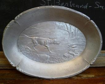Vintage Vintage Hound Dog Display Tray Dish in  Aluminum c. 1940 Hunting Dog