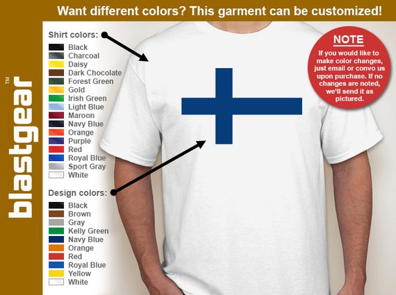 Flag of Finland Scandinavian Cross T-shirt — Any color/Any size - Adult S, M, L, XL, 2XL, 3XL, 4XL, 5XL  Youth S, M, L, XL