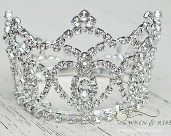 Newborn Baby Girl Tiara Crown - Crystal Crown - Vivienne - Newborn Baby Girl Infant Tiara Crown