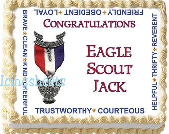 Boy Scouts Eagle Cub Tiger Edible icing sheet photo cake  transfer decal  decorations frosting top