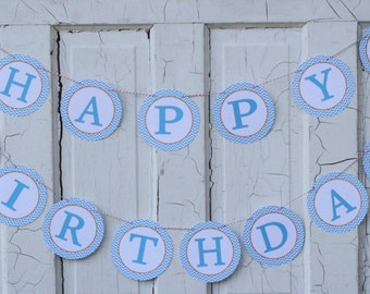 CHEVRON BEACH Happy Birthday or Baby Shower Party Banner - Party Packs Available