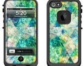 Lifeproof iPhone 6 Fre, LifeProof iPhone 5 5S 5C Fre Nuud, Lifeproof iPhone 4 4S Fre Case Decal Skin Cover - Green Geometric Dreams