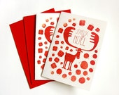 Red deer with presents an christmas tree balls  - Set of 2 Christmas cards