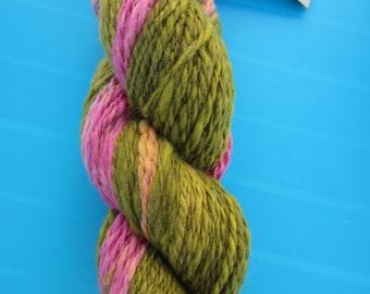 Handspun  yarn, merino,lots of greens, yellows, pinks, rhubarb - sport weight - dk