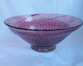 Handblown cranberry and strawberry glass bowl with herringbone pattern