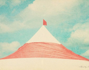 carnival, sky, tent, red, blue, fine art photography