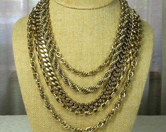 Vintage Gold Chain Necklace signed ART  5 Strands