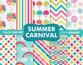 90% OFF SALE Summer Digital Paper Summer Carnival Rainbow Background Patterns