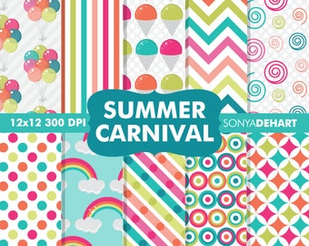 80% OFF Sale Summer Digital Paper Summer Carnival Rainbow Background Patterns