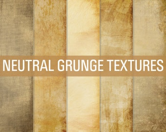 Digital Paper Neutral Grunge Textures Paper Pack Brown Tan Cream Dirty Grungy Vintage Backgrounds