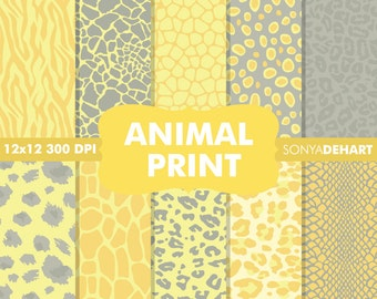 80% OFF Sale Digital Paper Animal Print Yellow Background Patterns