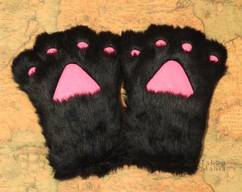 1 PAIR Cat PAWS / Cat Rabbit Bear MITTEN, Black Long fur Paw , Cat glove Cosplay Costumes Party