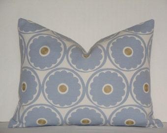 12 x 16 - Kravet - Decorative Pillow Cover / Chambray / Blue / Golden Brown / Throw Pillow / Accent Pillow