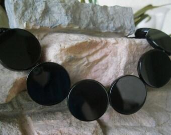 2 Coin Focal Bead Black Onyx 30MM Natural Black Gemstone 2 Beads