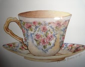 Pair of Carolyn Shores Wright Teacup Serenade and Prelude  Framed Art Prints Ready to Hang