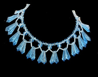 1940's Celluloid   Baby Blue Bib Collar Necklace