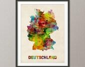 Germany Watercolor Map (Deutschland), Art Print (431)