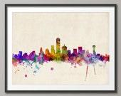 Dallas Skyline, Dallas Texas Cityscape Art Print (530)