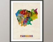 Cambodia Watercolor Map, Art Print (1028)