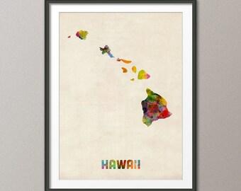 Hawaii Watercolor Map USA, Art Print (363)