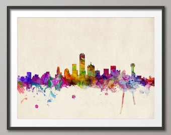 Dallas Skyline, Dallas Texas Cityscape Art Print (530)