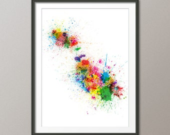 Paint Splashes Map of Malta Map, Art Print (1020)