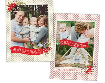 INSTANT DOWNLOAD - Christmas Card Photoshop template - e915