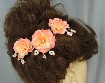 Bridal Hair Pins,Peach Roses, Set of 3, Bridal Hair Accessories, REX14-127