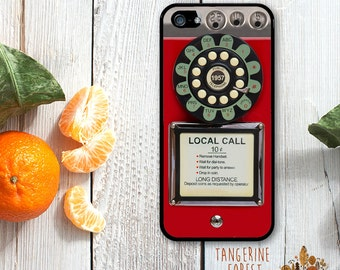 Vintage Payphone in Red, Orange, Pink or Mint. Available for iPhone 4/4s, 5/5s, 5c, 6/6s or 6+/6s+