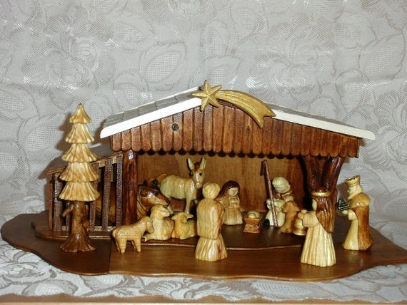 Wooden Hand Carved Nativity Sets ~ Nativity set hand carved from lime wood by hermanthegerman