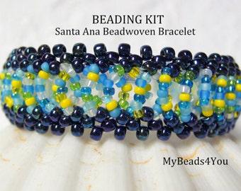 Beadwoven Bracelet Kit, PDF Beadwork Tutorial, Kit, PDF Beaded Bracelet Pattern, Beading Instructions, Seed Bead Tutorial, Beading Kit