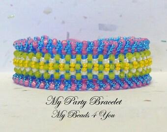Beaded Bracelet,Beaded Cuff,Seed Bead Bracelet,Embellished Bracelet,Beading Tutorial, Pattern, Beadwoven Bracelet, Blue Beaded Jewelry, Gift
