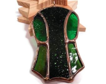 Stained Glass Jewelry Gila Pendant Glass and Metal Jewelry Handmade Jewelry Necklace Statement Jewelry Green Gila Necklace Green Jewelry