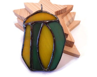 Cocoon Stained Glass Jewelry Pendant Glass  Metal Jewelry Handmade Jewelry Statement Jewelry Necklace Yellow and Green Pendant  Glass Cocoon