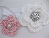 Baby Girl Soft Flower Headband with Crystal Jewel or Pearl - Crochet newborn photo prop