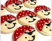 MINI Pirate Cookies Iced Decorated MINI Sugar Cookie Boy Pirate Face Birthday Pirate Theme
