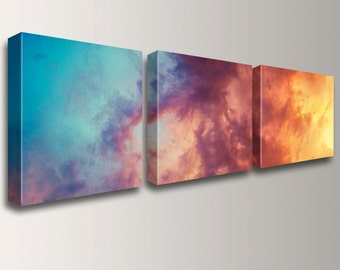 "Canvas Triptych - 3 Panel Art - Wall Art Grouping - Unique Decor - Canvas Gallery Wraps - Photo Split - ""Atmosphere"""