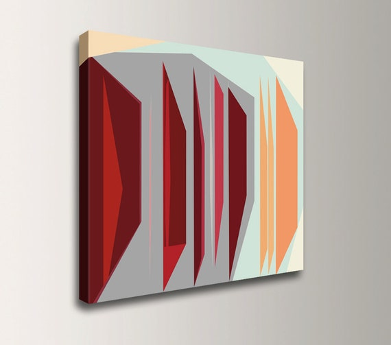 "Mid Century Modern Art - Canvas Print - Abstract Painting - Teal, Orange, Red, Grey - Geometric Art  - Abstract Digital Print  - "" Oblique """