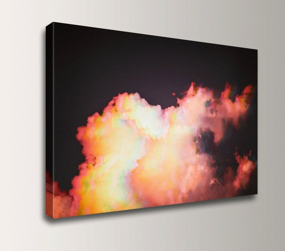 "Cloud Photography - Canvas Print - Black and Pink Wall Decor - Affordable Wall Art - "" Puff """