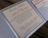 Stunning and Elegant Glitter Wedding Invitation. Pocketfold Invitation with No-Transfer Glitter Backing. Fully Customizable!