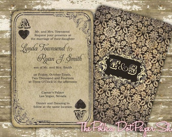 Playing Card Invitation / Las Vegas Invite / Las Vegas Invitation / Casino Wedding Invitation / Ace of Hearts / Rustic Invitation