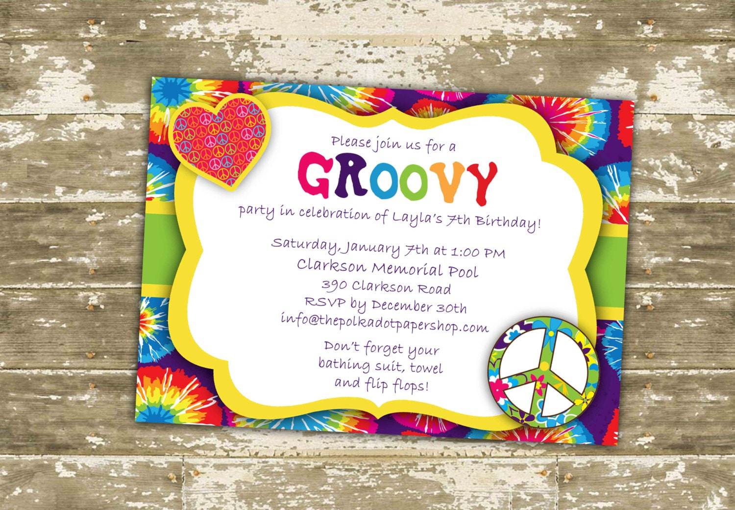 Hippie Invitation / Invite / Hippie Birthday Party / Groovy
